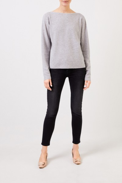 Wool silk pullover with texture Grey