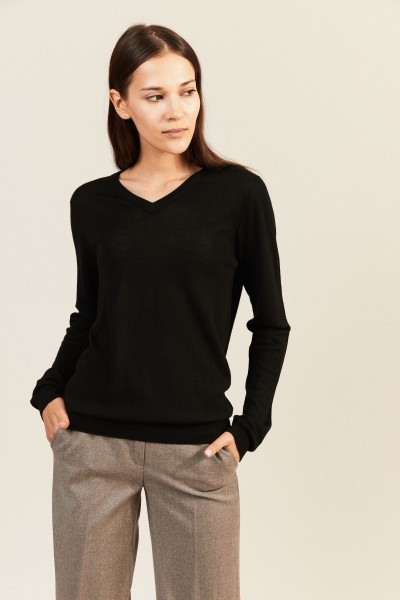 Woll-Pullover mit V-Neck Schwarz