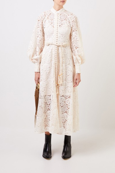 Zimmermann Midi lace dress with macramé belt Cream