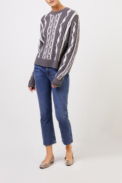 Uzwei Wool cashmere pullover with intarsia knit pattern Grey/White