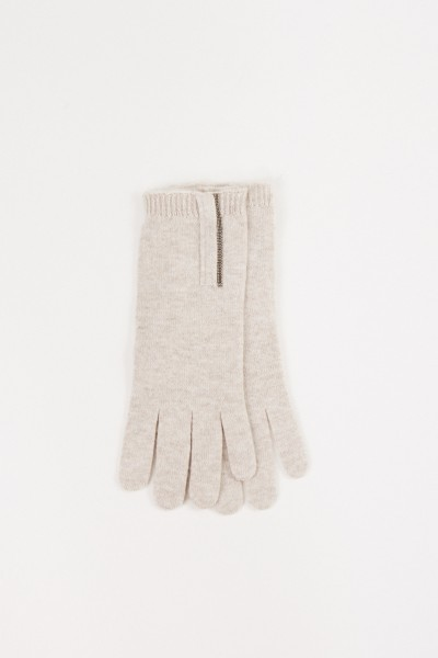 Cashmere-Handschuhe mit Perlen-Details Beige