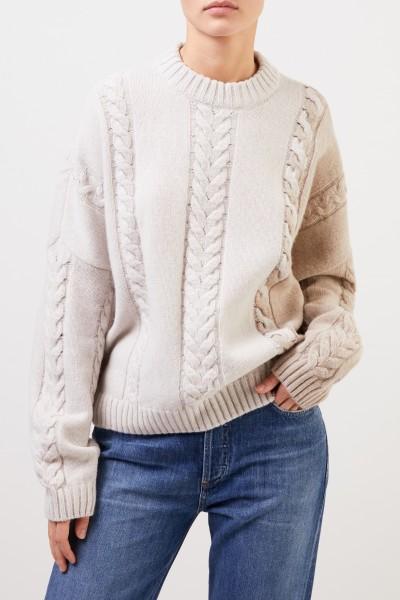 Maison Kitsuné Woll-Cashmere-Pullover mit Zopfmuster Ècru/Beige
