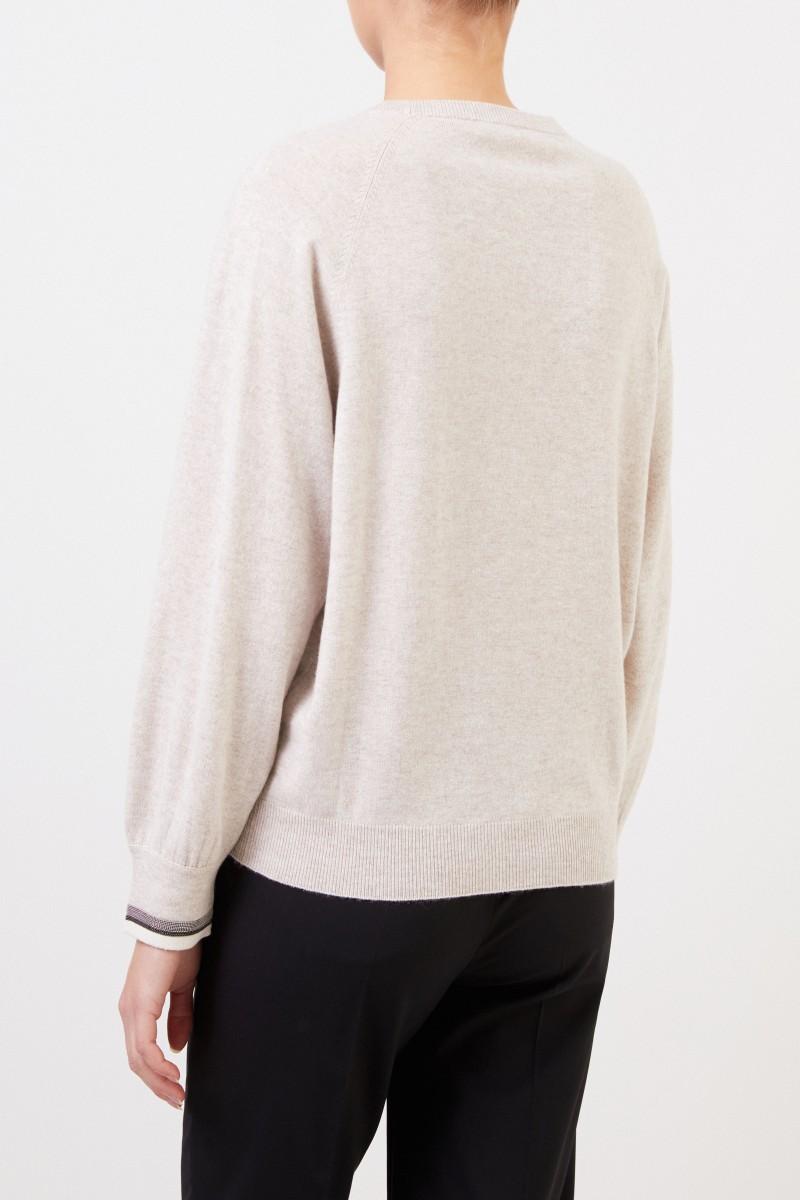 Brunello Cucinelli Cashmere Pullover mit Perlenverzierung Crème