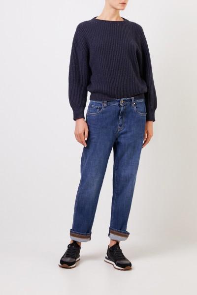 Cashmere-Pullover mit Lurexdetails Marineblau