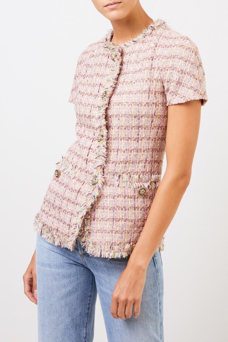 Brock Collection Kurzarm Tweed-Blazer mit Knopfdetails Rosé/Multi