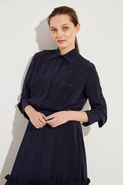 Seiden-Bluse mit Spitzendetails Marineblau