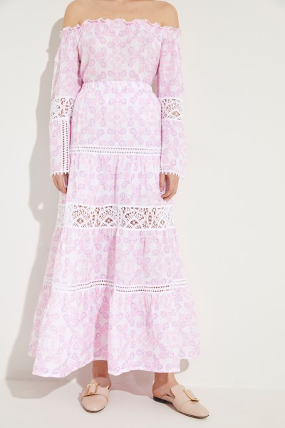 Maxi-skirt 'Maiori' with embroidery Rose