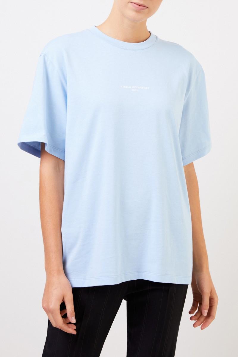 Stella McCartney T-Shirt mit Logo-Aufdruck Hellblau