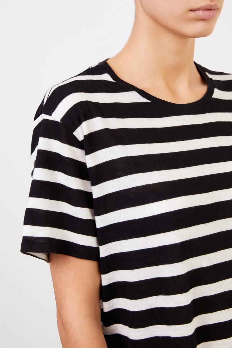 dauerhafte Modellierung Modestile 100% Zufriedenheitsgarantie Gestreiftes T-Shirt Schwarz/Weiß