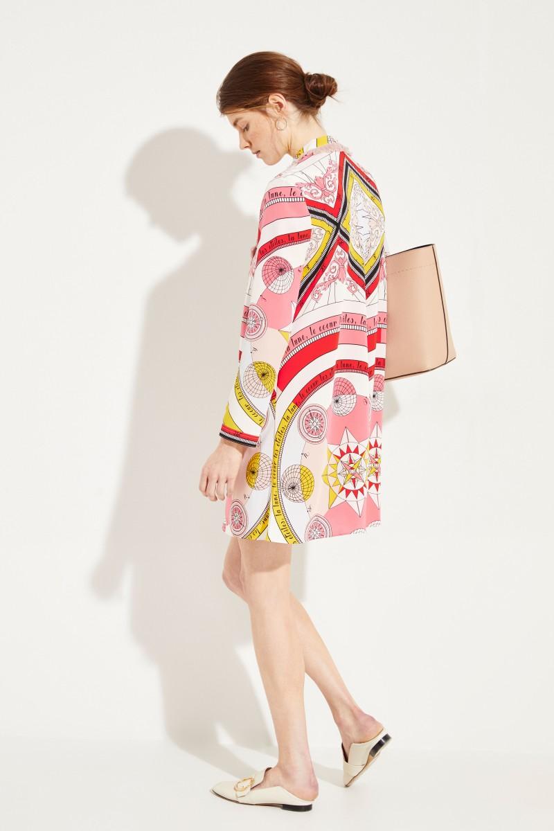 Seiden-Kleid 'Fringe Bow' mit Print Rosé/Multi
