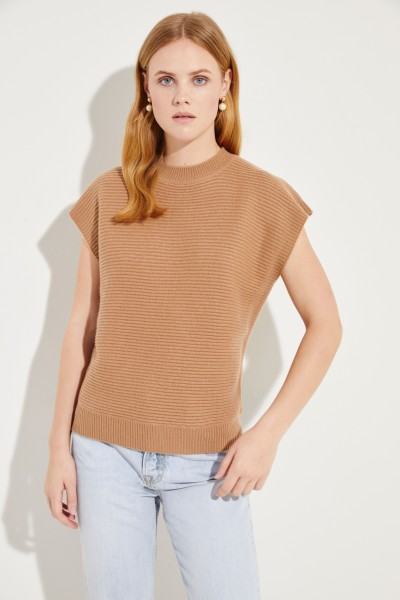 Kurzarm Woll-Cashmere-Pullover Caramel
