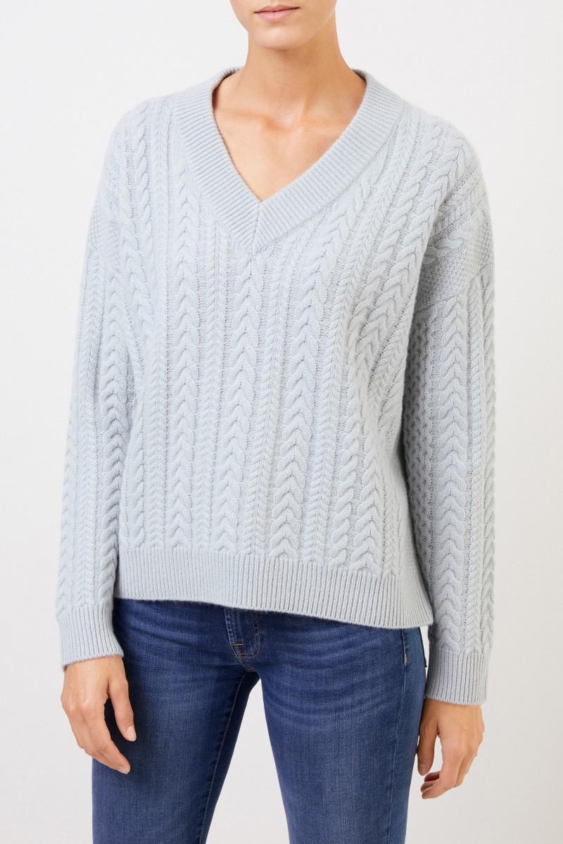 Uzwei V-Neck Cashmere-Pullover mit Zopfmuster Seegrün
