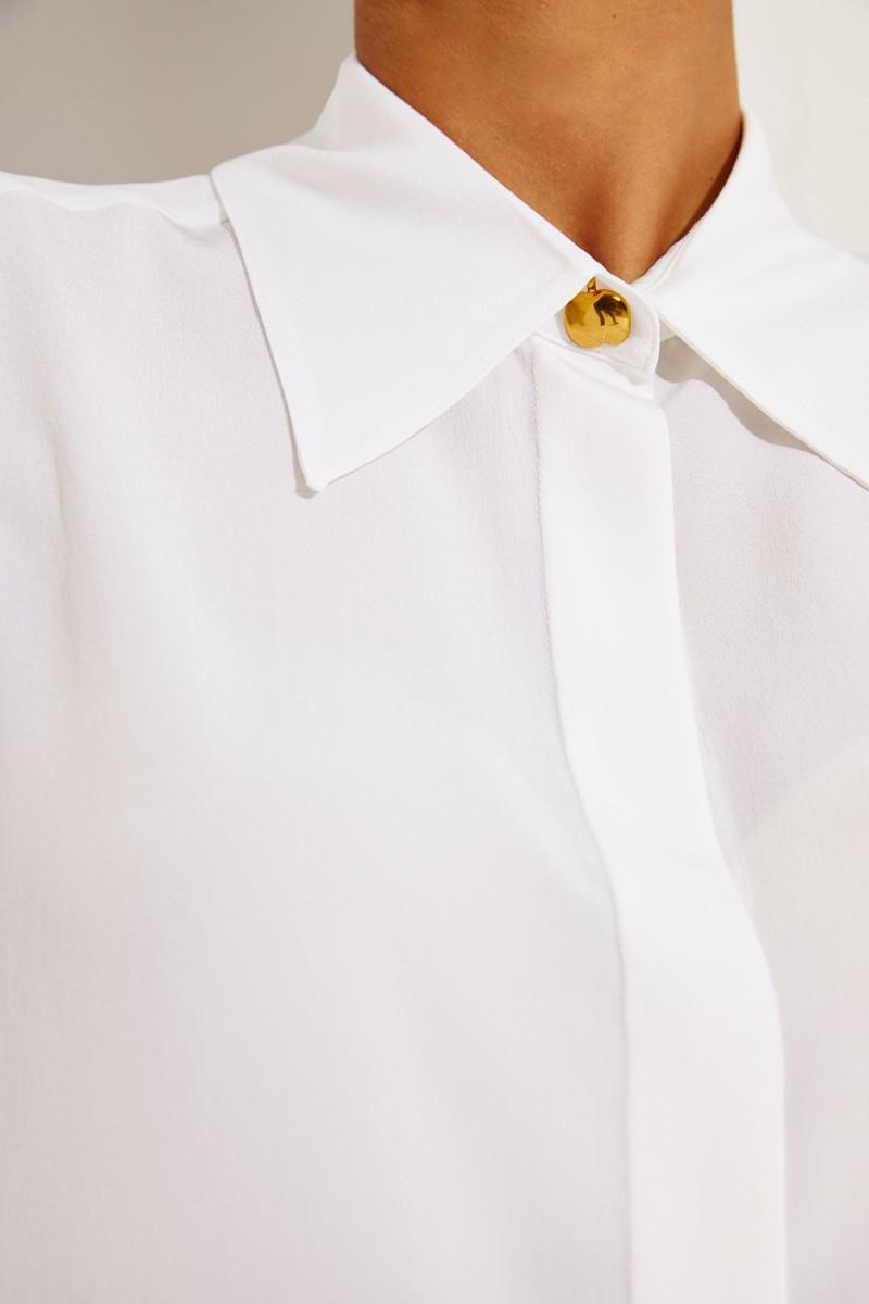 Kurzarm-Seidenbluse Weiß