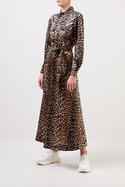 Ganni Seiden-Hemdblusenkleid mit Leoprint Multi