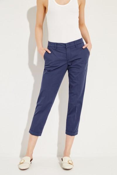 Baumwoll-Hose mit Saumumschlägen Blau