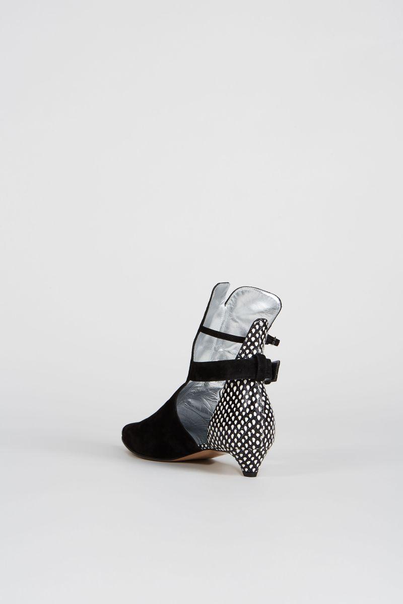 Veloursleder-Boots mit Muster Schwarz/Weiß
