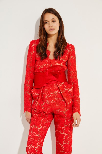 Stella McCartney Lace jumpsuit with belt Red