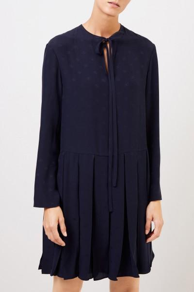 Valentino Zweiteiliges Seidenkleid mit Logo-Print Marineblau