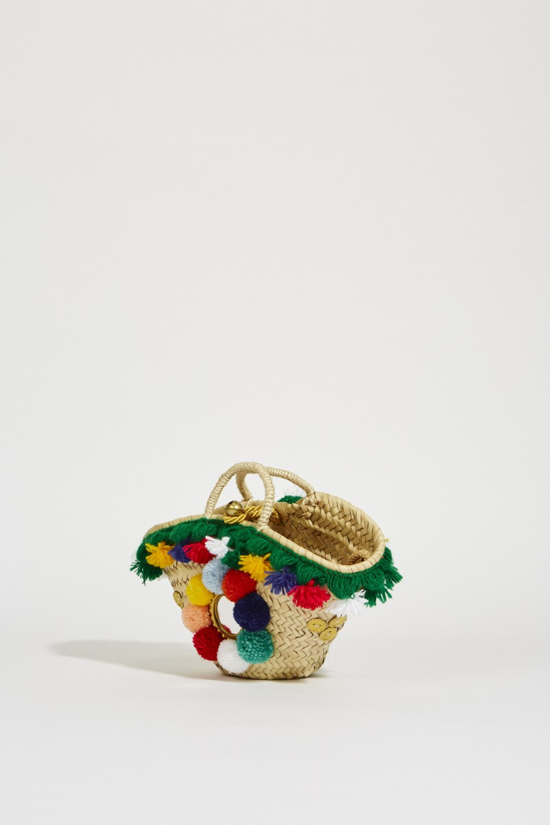 Mini-Korb-Tasche mit Pompoms Multi