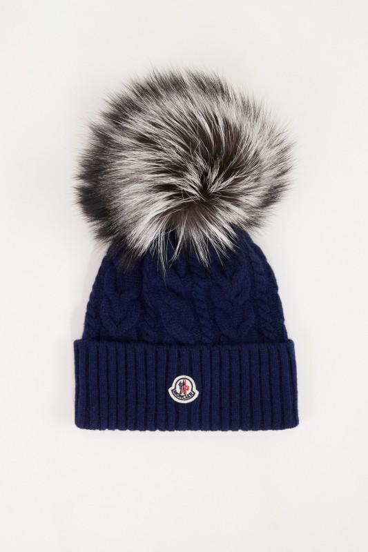 Moncler Woll-Cashmere-Mütze mit Zopfmuster Marineblau