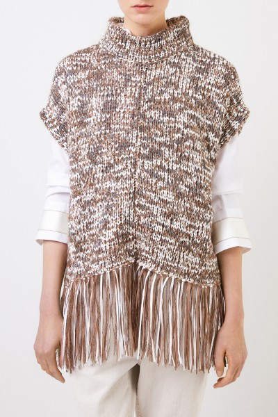 Brunello Cucinelli Poncho with fringe details Brown/Multi