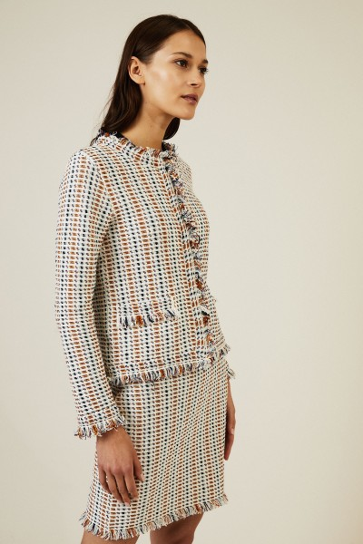 Tweed-Jacke mit Fransendetails Écru/Multi