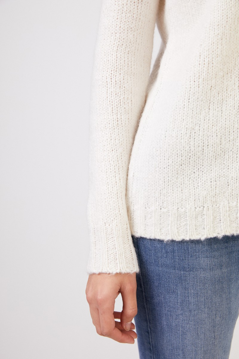 Allude Baumwoll-Mohair-Pullover Weiß