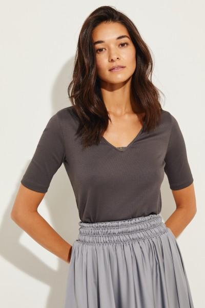 Feinripp-Shirt mit Perlenverzierung Grau