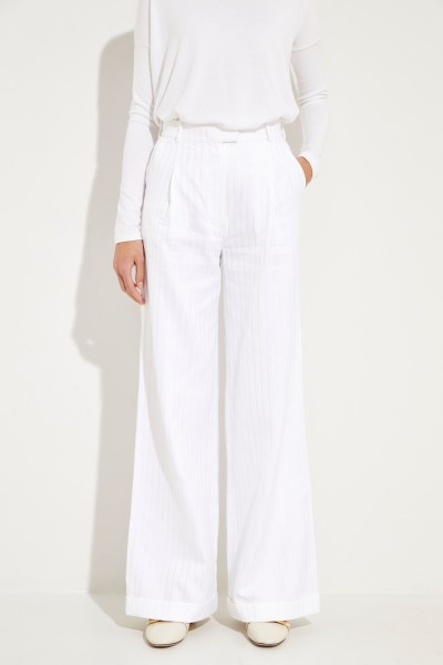 Cotton-silk pants 'Mama' with striped pattern White