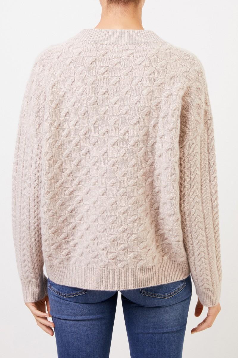 Uzwei V-Neck Cashmere-Pullover mit Zopfmuster Beige