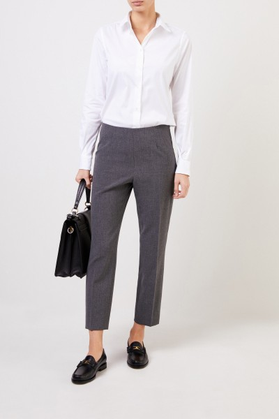 Baumwoll-Bluse mit abgerundetem Saum Weiß