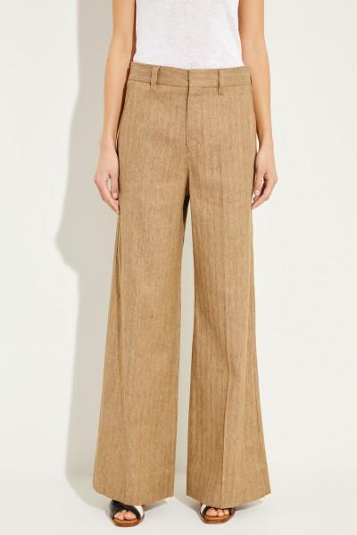 Baumwoll-Leinen-Hose mit weitem Bein Beige