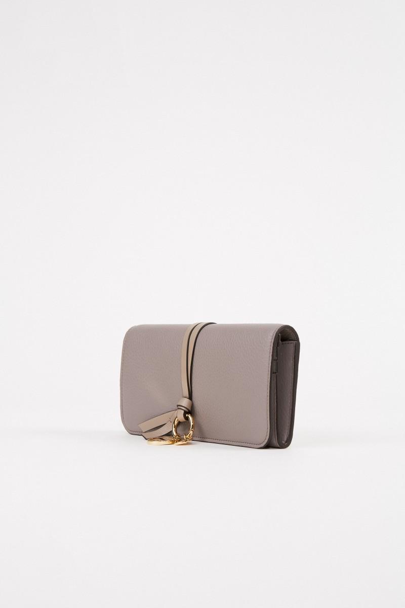 Chloé Leder-Portemonnaie ' Alphabet' Cashmere Grey