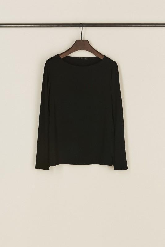 Basic-Shirt mit U-Boot-Ausschnitt Schwarz
