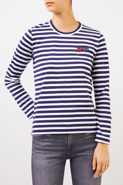 Comme des Garcons Play Striped longsleeve with double heart logo Navy/White