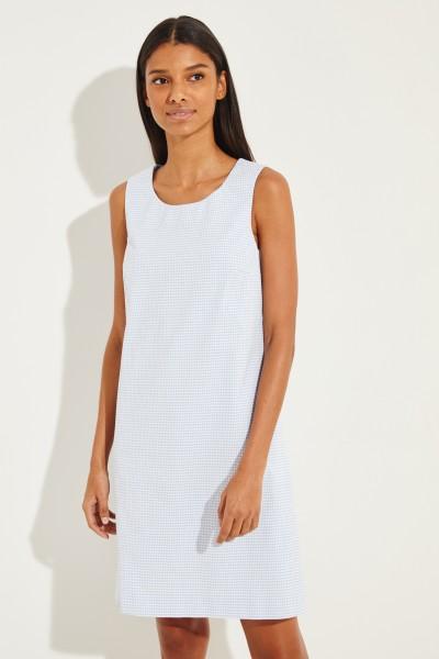 Kariertes Baumwoll-Kleid Blau/Weiß