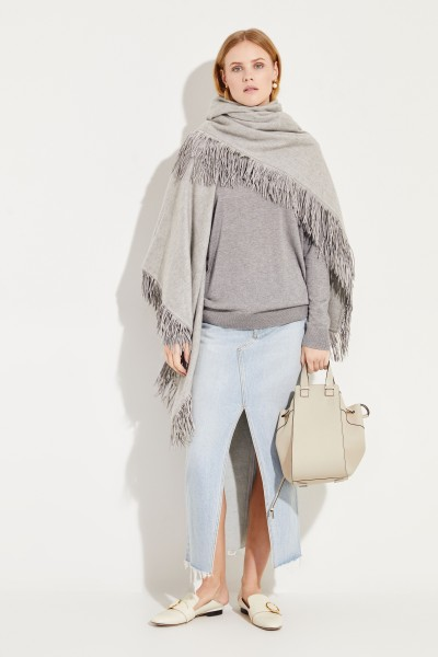 Square cashmere plaid with fringes Grey