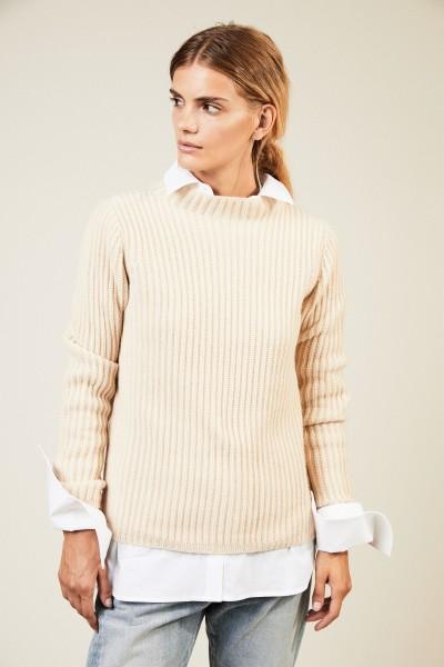 Rippstrick-Pullover Beige