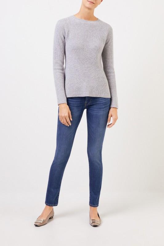 Uzwei Cashmere-Pullover mit Strickdetail Grau