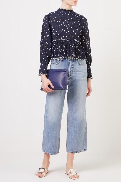 Plissee-Bluse mit Punkten Blau/Weiß