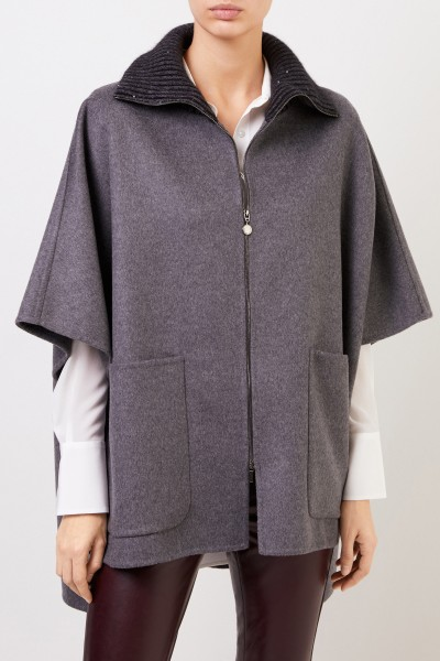 Fabiana Filippi Wool cashmere cape with sequin details Anthracite