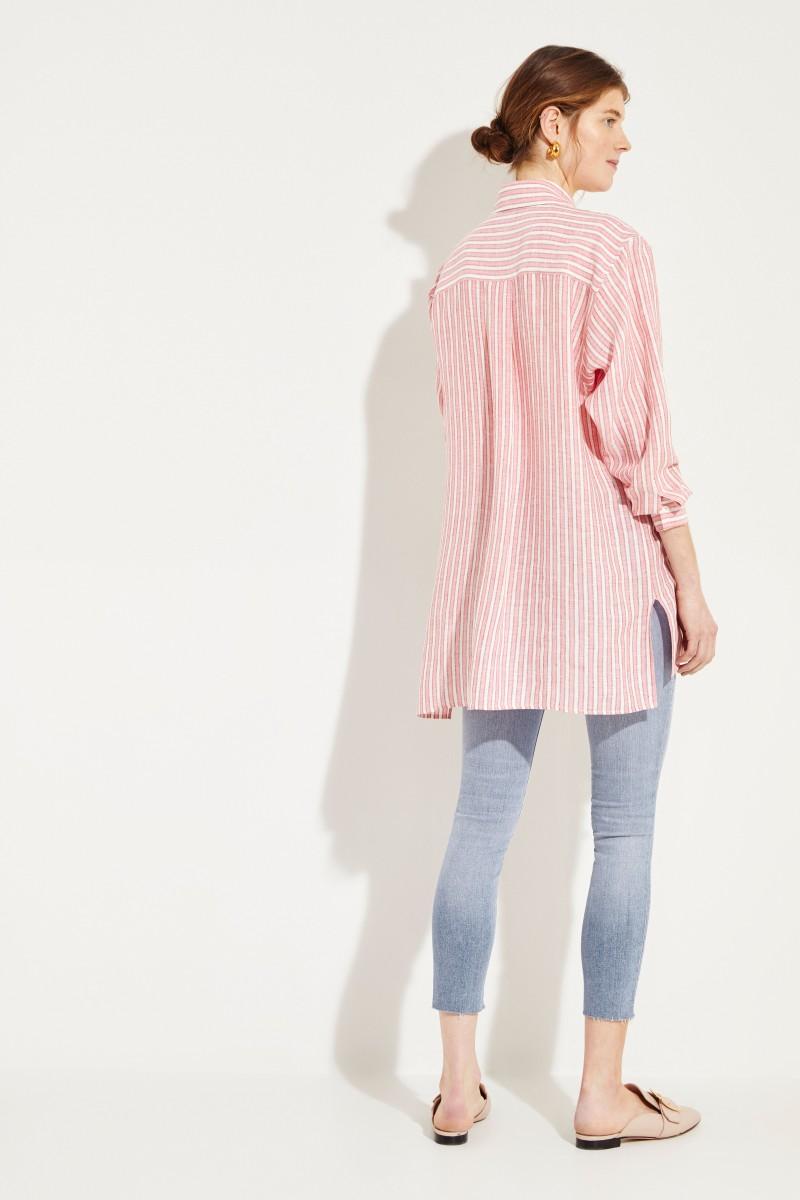 Gestreifte Leinen-Bluse Rosé/Weiß