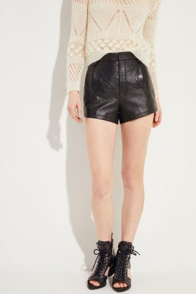 Leder-Shorts Schwarz