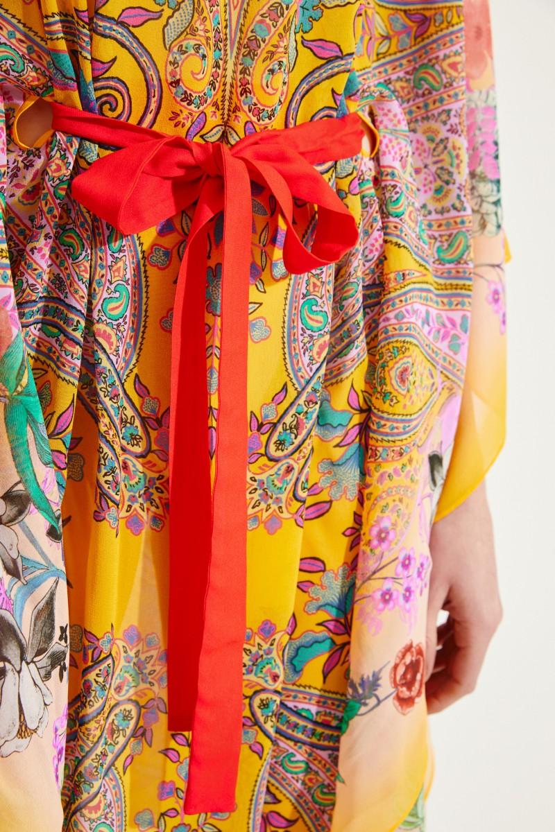 Seiden-Kaftan mit floralem Print Gelb/Multi