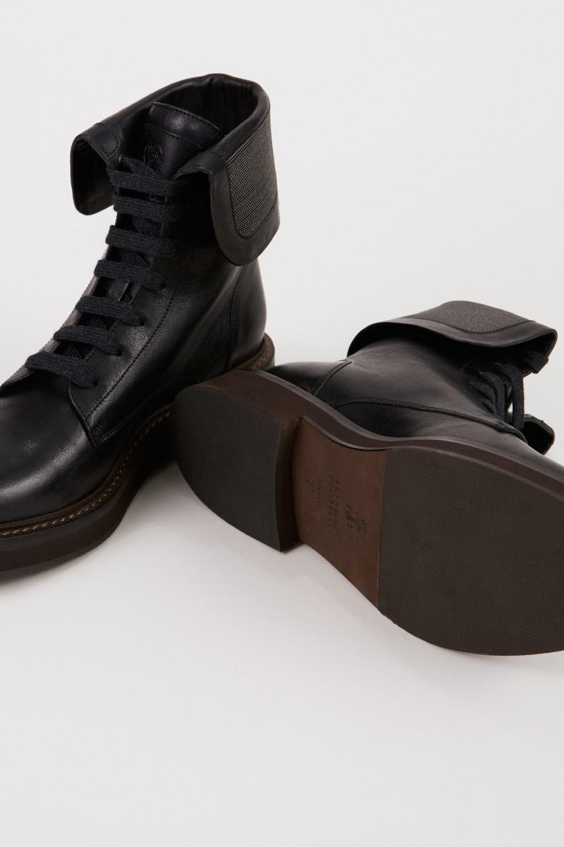 Brunello Cucinelli Leder-Boots mit Perlenverzierung Schwarz
