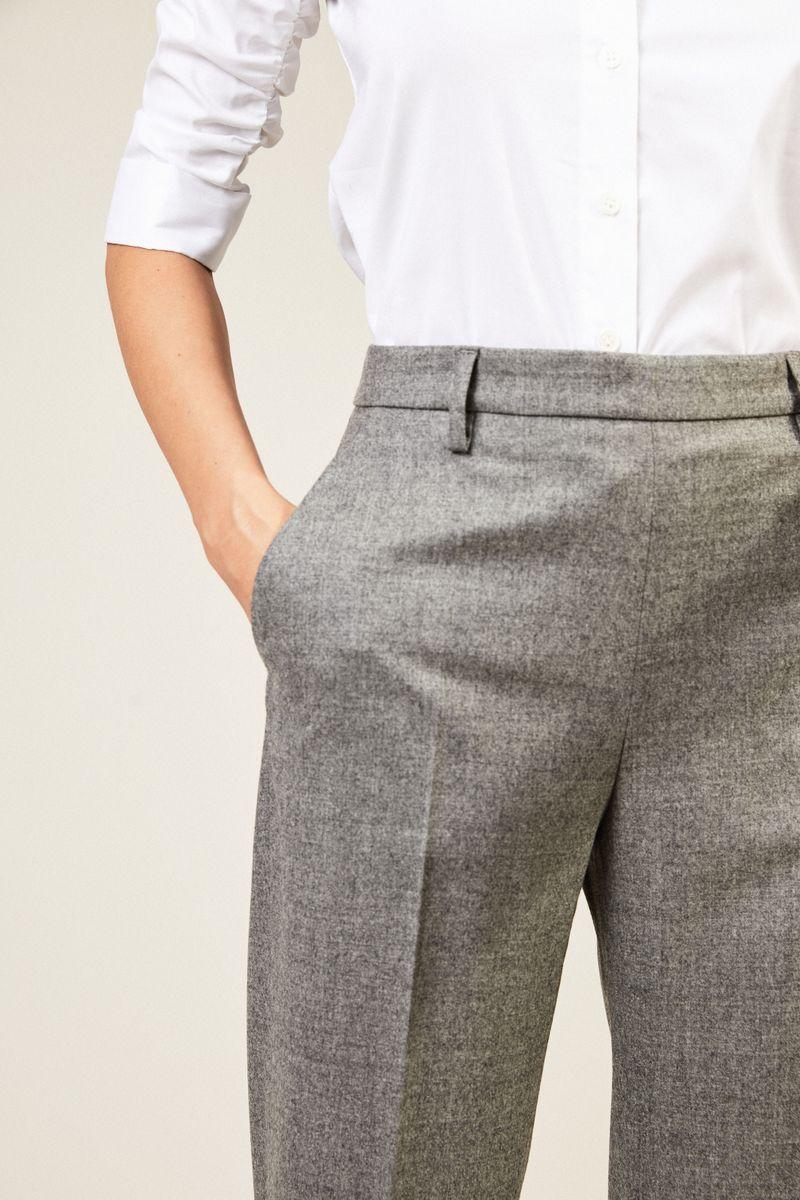 Woll-Hose 'Emma' mit weitem Bein Grau