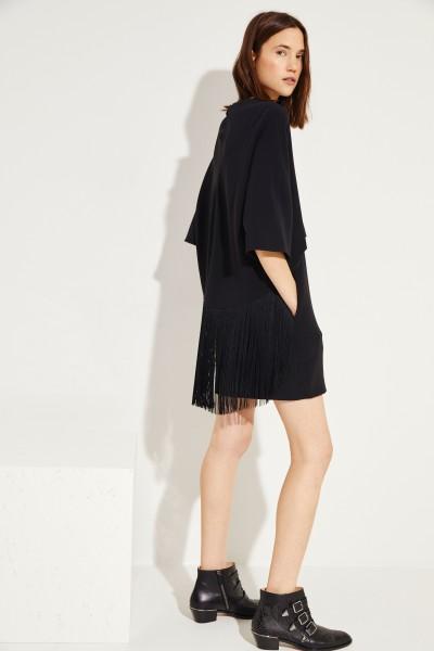 Kleid mit Fransen Schwarz