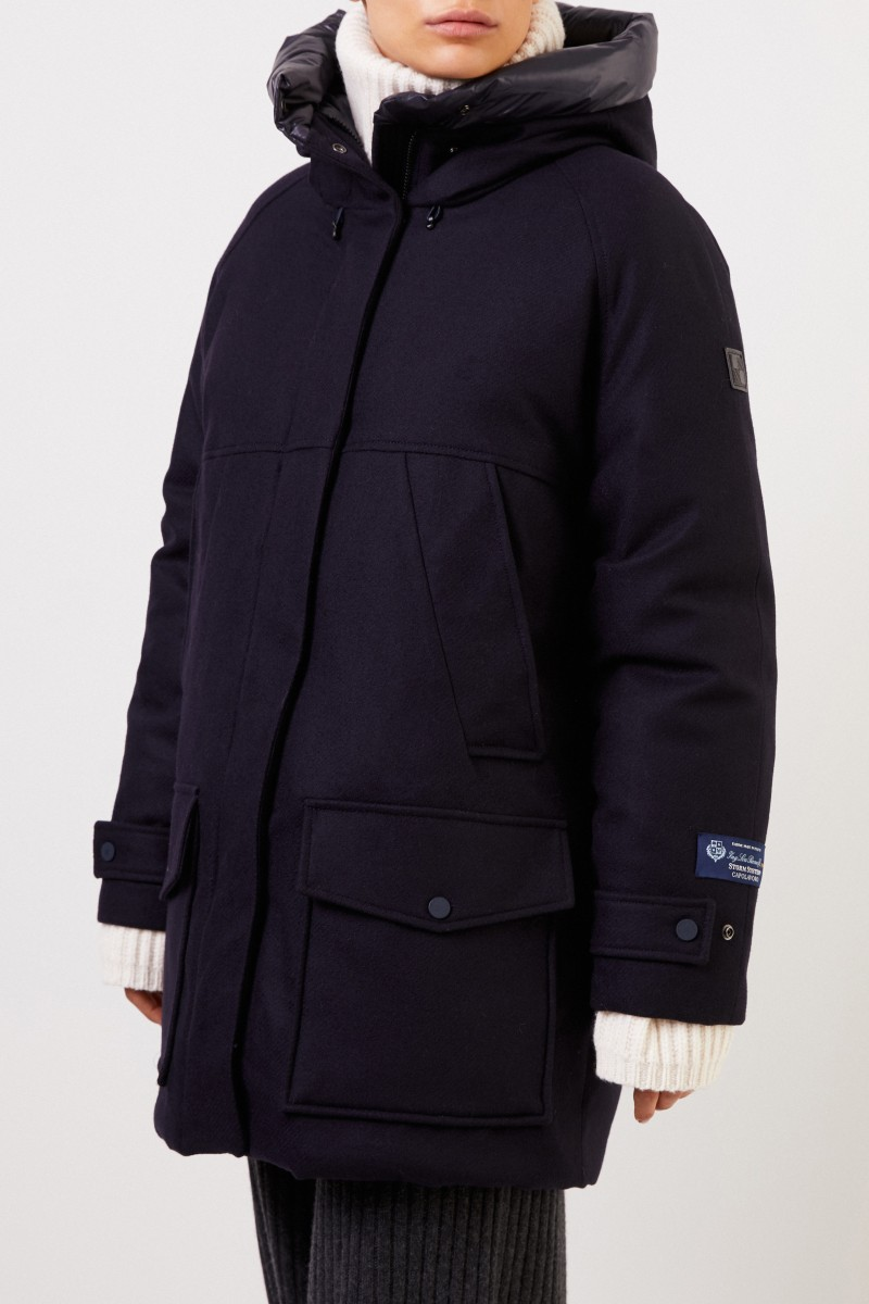 Woolrich Daunenjacke 'Tundra Parka' mit Kapuze Marineblau