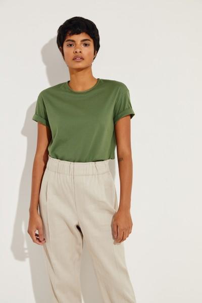 Baumwoll T-Shirt mit Perlen-Details Grün