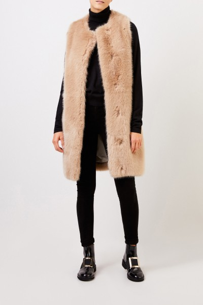 Stella McCartney Lange Faux Fur Weste Beige